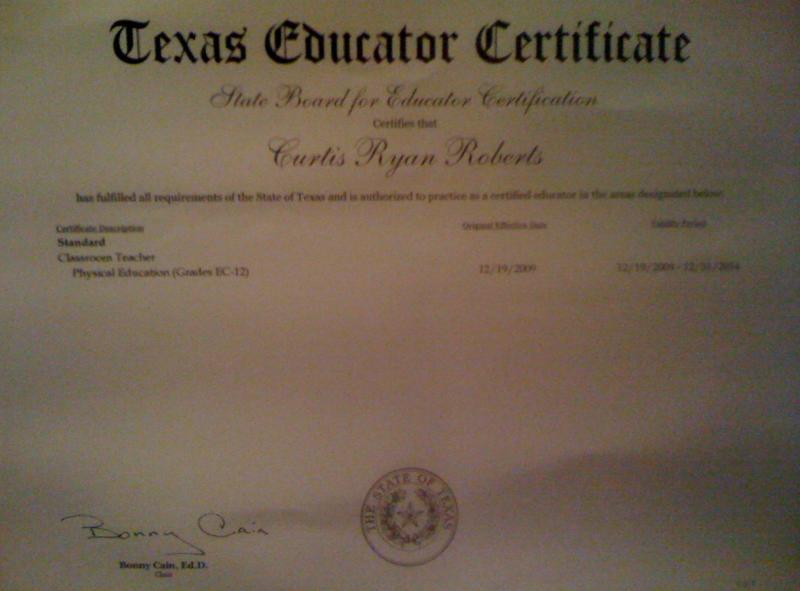 certificate texas teacher biography